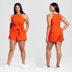 Victoria Beckham Orange Romper Scallop Trim XL